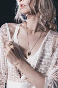 woman wearing mesh surplice top