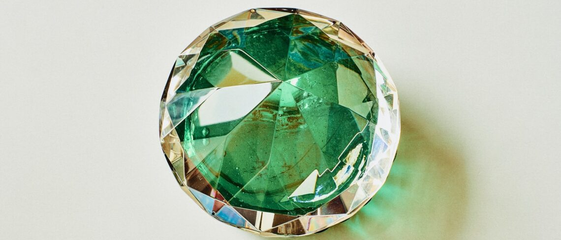 green and blue glass ball